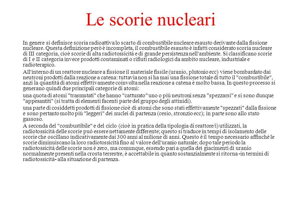 Le scorie nucleari In genere si definisce scoria radioattiva lo scarto di combustibile nucleare esausto derivante dalla fissione nucleare. Questa defi