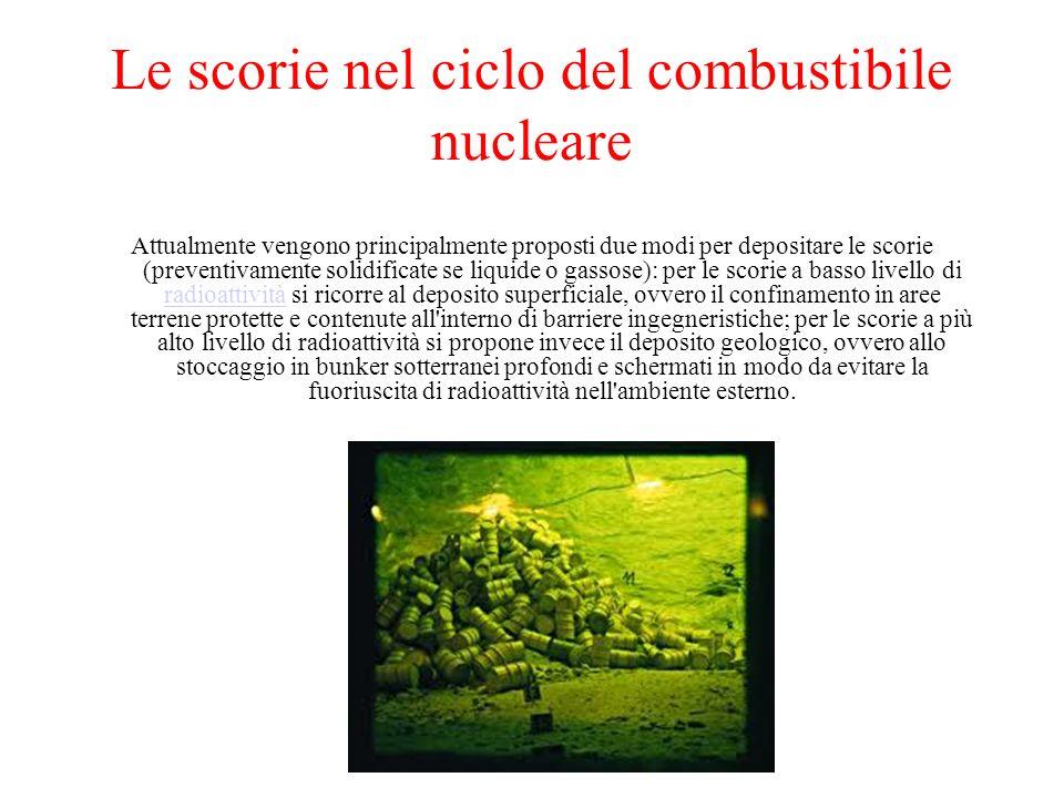 Le scorie nel ciclo del combustibile nucleare Attualmente vengono principalmente proposti due modi per depositare le scorie (preventivamente solidific