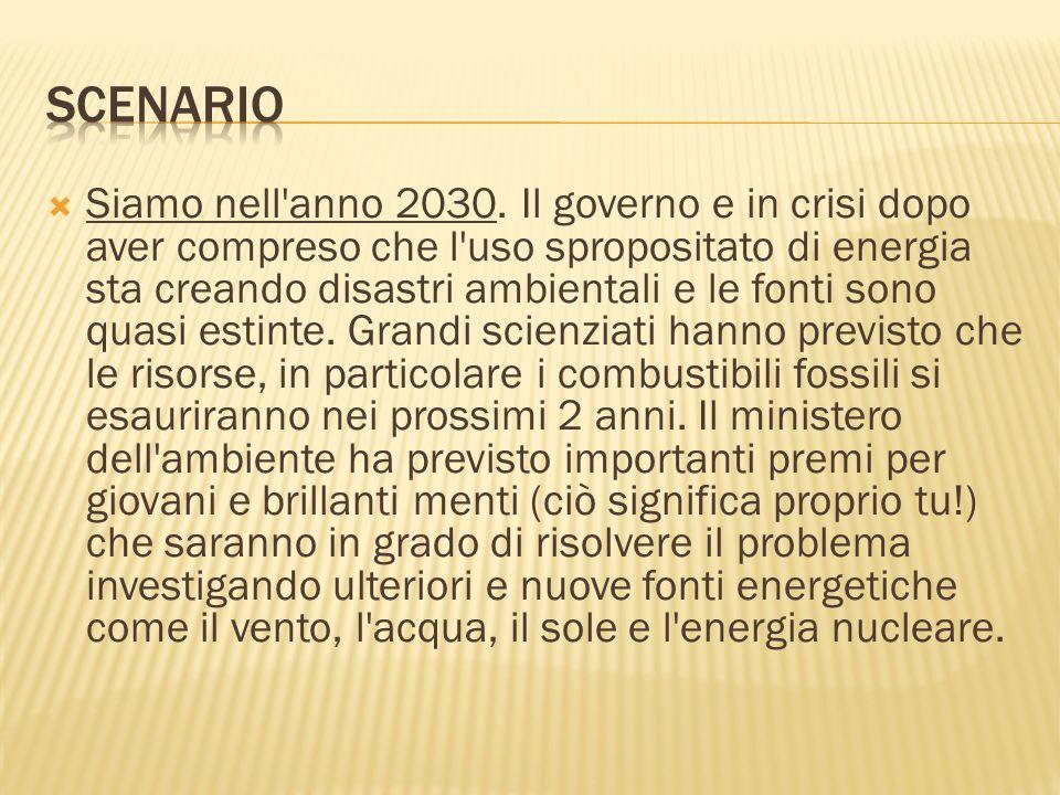 Siamo nell'anno 2030. Il governo e in crisi dopo aver compreso che l'uso spropositato di energia sta creando disastri ambientali e le fonti sono quasi