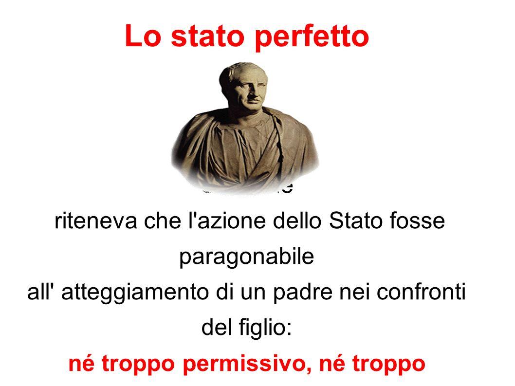 Lo stato perfetto Cicerone riteneva che l'azione dello Stato fosse paragonabile all' atteggiamento di un padre nei confronti del figlio: né troppo per