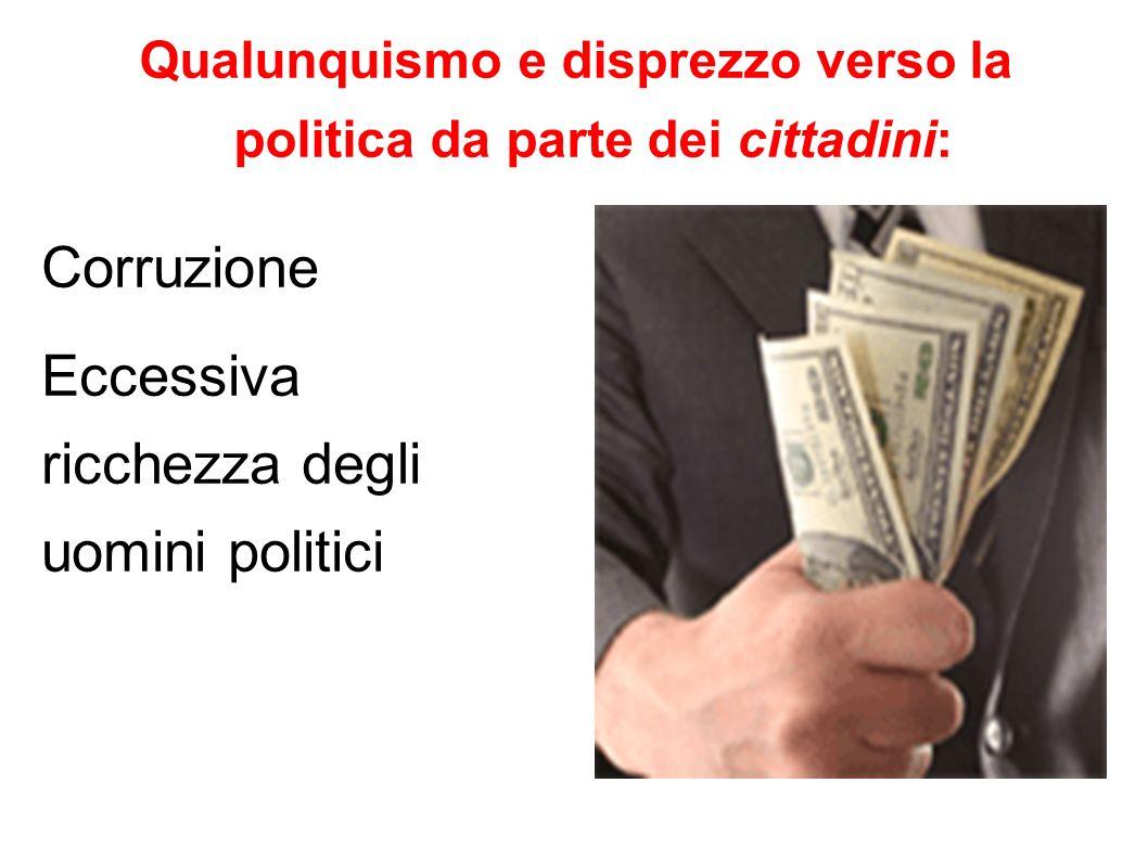 Qualunquismo e disprezzo verso la politica da parte dei cittadini: Corruzione Eccessiva ricchezza degli uomini politici
