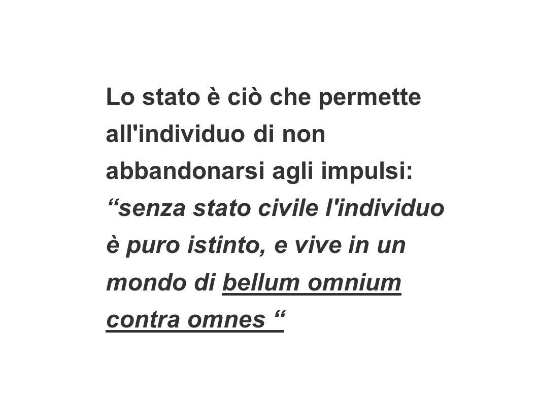 Lo stato è ciò che permette all'individuo di non abbandonarsi agli impulsi: senza stato civile l'individuo è puro istinto, e vive in un mondo di bellu