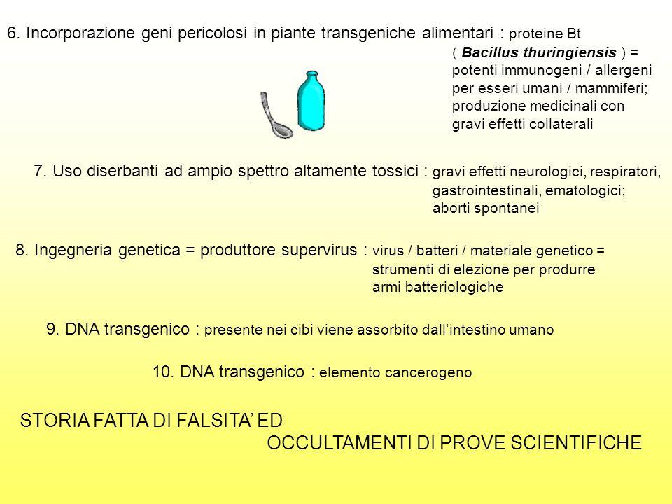6. Incorporazione geni pericolosi in piante transgeniche alimentari : proteine Bt ( Bacillus thuringiensis ) = potenti immunogeni / allergeni per esse