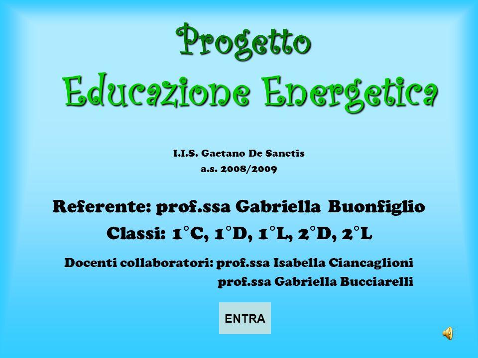 Progetto Educazione Energetica I.I.S. Gaetano De Sanctis a.s. 2008/2009 Referente: prof.ssa Gabriella Buonfiglio Classi: 1°C, 1°D, 1°L, 2°D, 2°L Docen