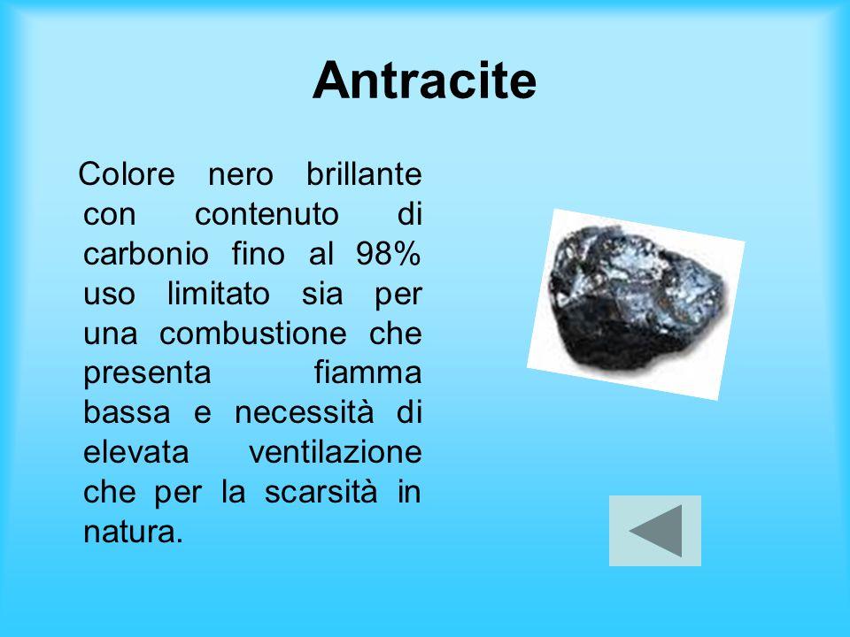 Antracite Colore nero brillante con contenuto di carbonio fino al 98% uso limitato sia per una combustione che presenta fiamma bassa e necessità di el