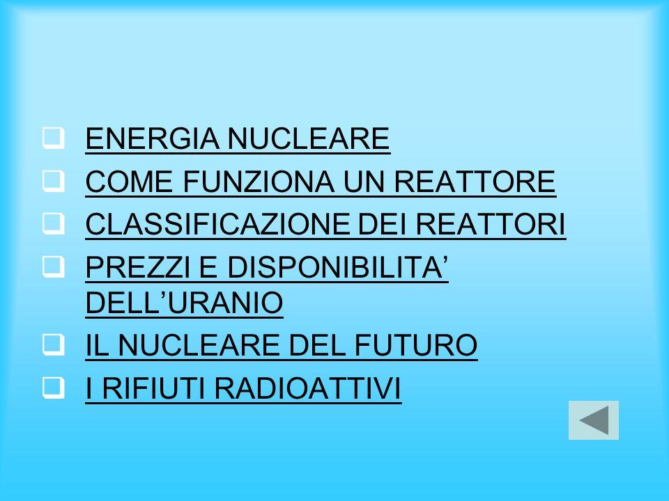 ENERGIA NUCLEARE COME FUNZIONA UN REATTORE CLASSIFICAZIONE DEI REATTORI PREZZI E DISPONIBILITA DELLURANIO PREZZI E DISPONIBILITA DELLURANIO IL NUCLEAR