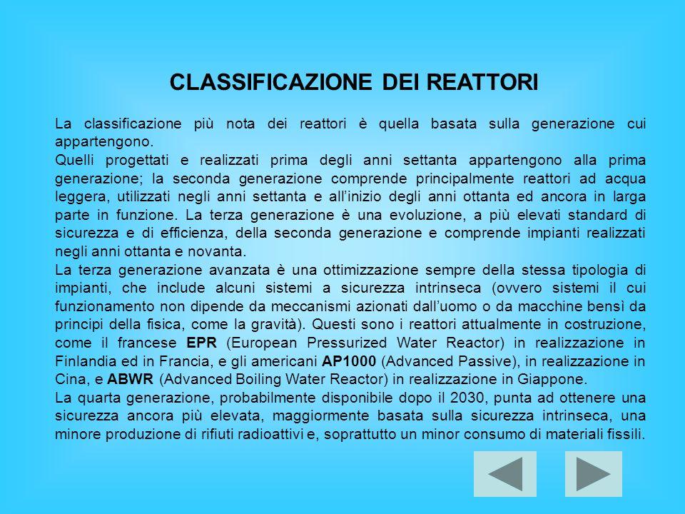 CLASSIFICAZIONE DEI REATTORI La classificazione più nota dei reattori è quella basata sulla generazione cui appartengono. Quelli progettati e realizza
