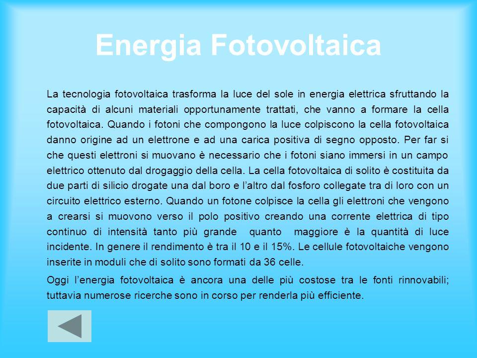 Energia Fotovoltaica La tecnologia fotovoltaica trasforma la luce del sole in energia elettrica sfruttando la capacità di alcuni materiali opportuname