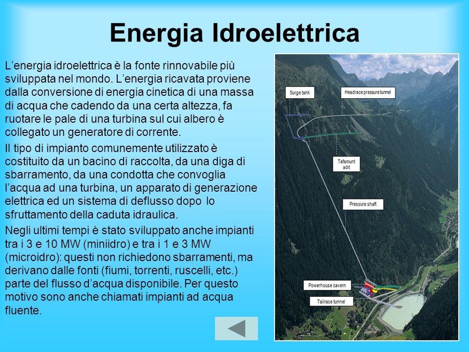 Energia Idroelettrica Lenergia idroelettrica è la fonte rinnovabile più sviluppata nel mondo. Lenergia ricavata proviene dalla conversione di energia