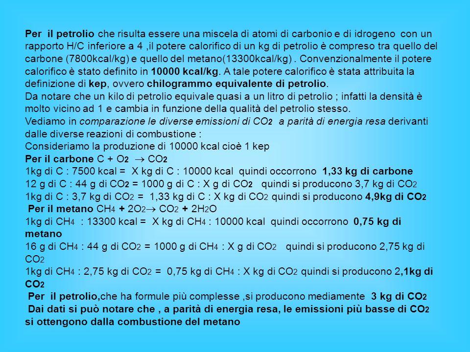 Per il petrolio che risulta essere una miscela di atomi di carbonio e di idrogeno con un rapporto H/C inferiore a 4,il potere calorifico di un kg di p