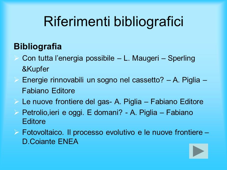 Riferimenti bibliografici Bibliografia Con tutta lenergia possibile – L. Maugeri – Sperling &Kupfer Energie rinnovabili un sogno nel cassetto? – A. Pi