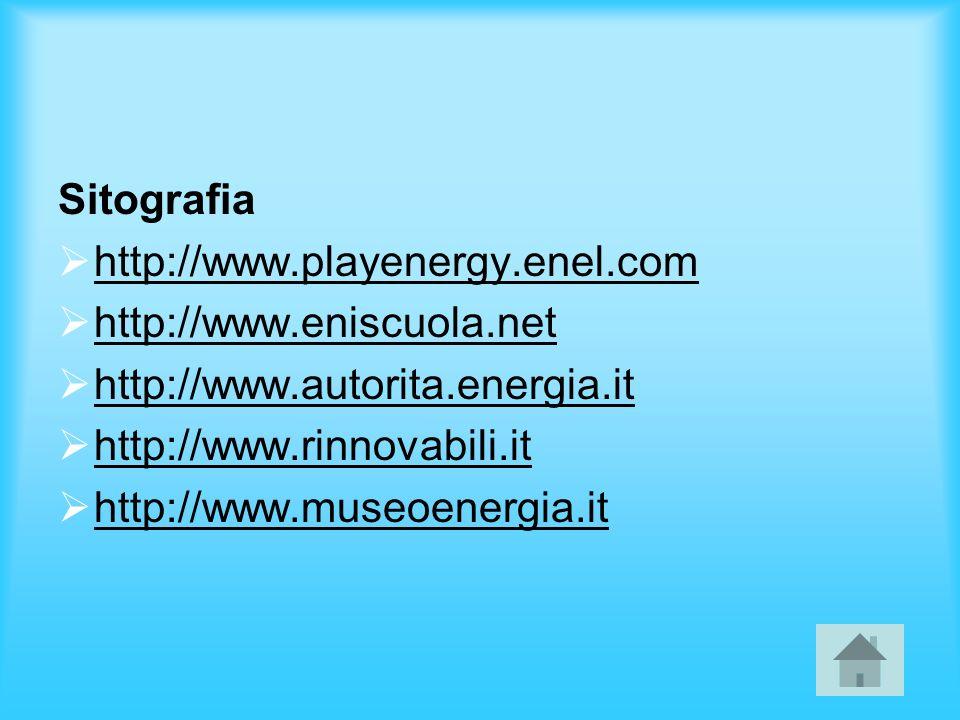 Sitografia http://www.playenergy.enel.com http://www.eniscuola.net http://www.autorita.energia.it http://www.rinnovabili.it http://www.museoenergia.it
