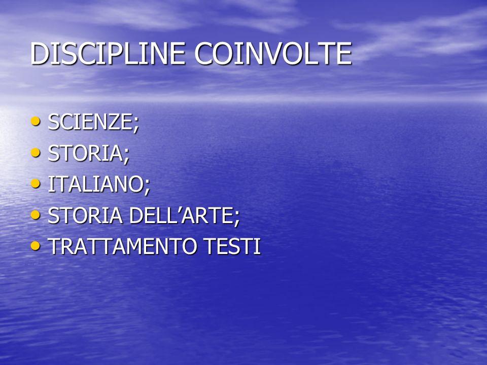 DISCIPLINE COINVOLTE SCIENZE; SCIENZE; STORIA; STORIA; ITALIANO; ITALIANO; STORIA DELLARTE; STORIA DELLARTE; TRATTAMENTO TESTI TRATTAMENTO TESTI