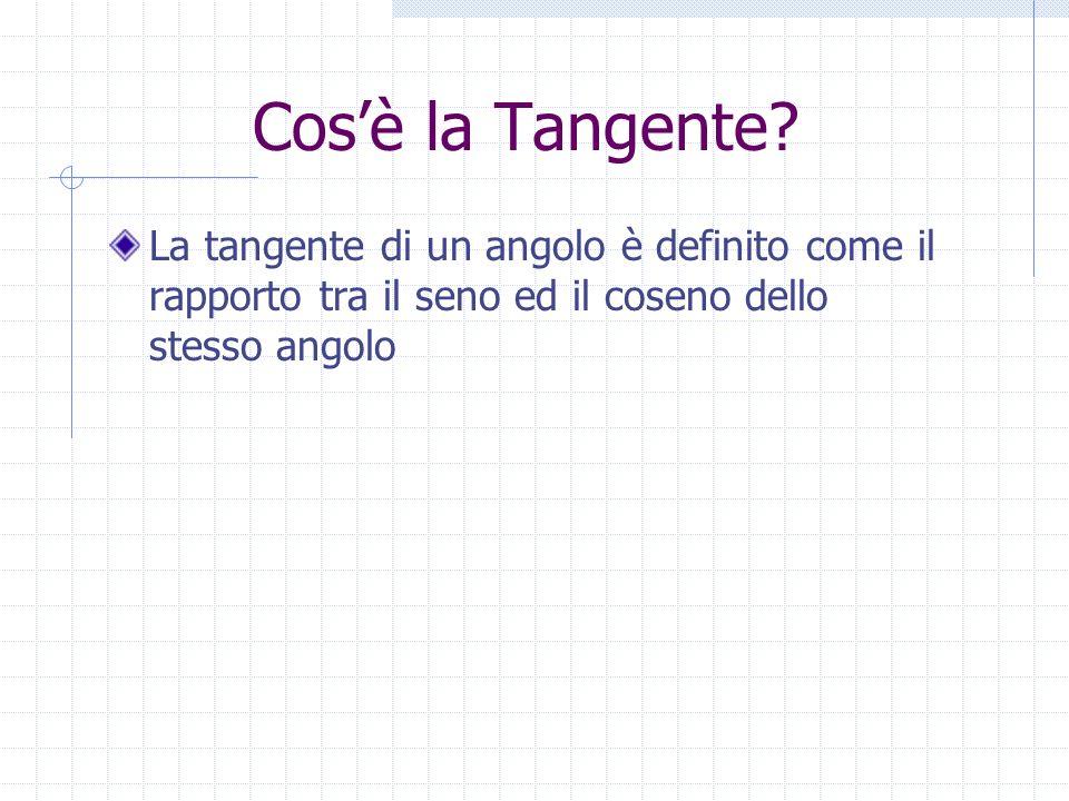 Cosè la Tangente? La tangente di un angolo è definito come il rapporto tra il seno ed il coseno dello stesso angolo