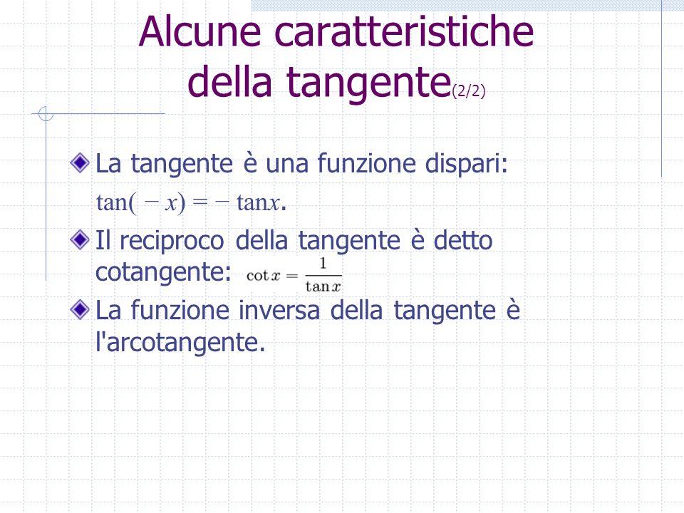 Alcune caratteristiche della tangente (2/2) La tangente è una funzione dispari: tan( x) = tanx. Il reciproco della tangente è detto cotangente: La fun