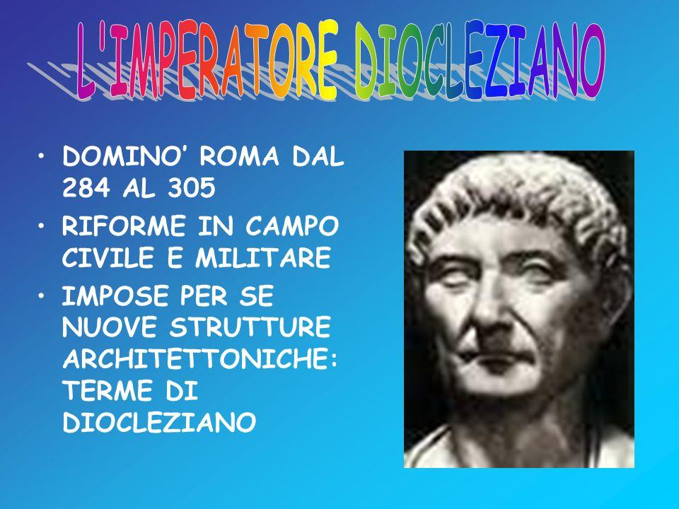 DOMINO ROMA DAL 284 AL 305 RIFORME IN CAMPO CIVILE E MILITARE IMPOSE PER SE NUOVE STRUTTURE ARCHITETTONICHE: TERME DI DIOCLEZIANO