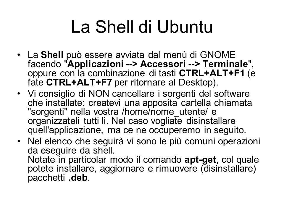 La Shell di Ubuntu La Shell può essere avviata dal menù di GNOME facendo
