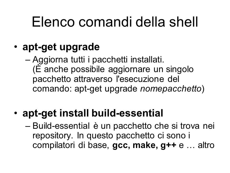 Elenco comandi della shell apt-get upgrade –Aggiorna tutti i pacchetti installati. (È anche possibile aggiornare un singolo pacchetto attraverso l'ese