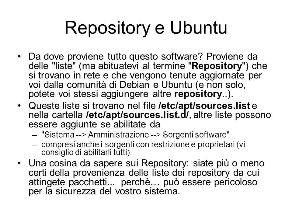 Repository e Ubuntu Da dove proviene tutto questo software? Proviene da delle