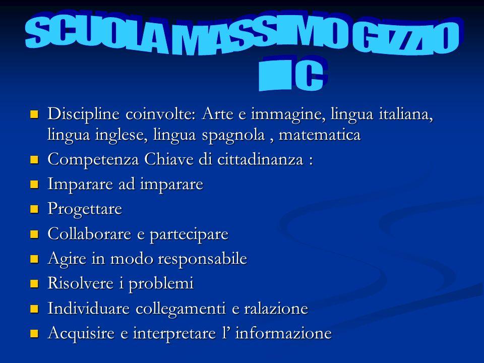 Discipline coinvolte: Arte e immagine, lingua italiana, lingua inglese, lingua spagnola, matematica Discipline coinvolte: Arte e immagine, lingua ital
