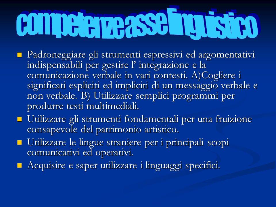 Padroneggiare gli strumenti espressivi ed argomentativi indispensabili per gestire l integrazione e la comunicazione verbale in vari contesti. A)Cogli