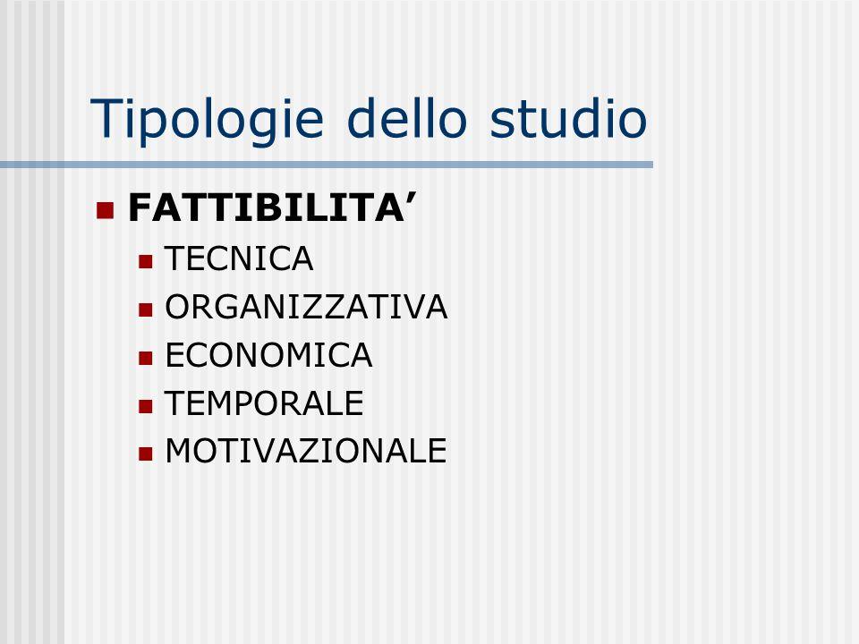 Tipologie dello studio FATTIBILITA TECNICA ORGANIZZATIVA ECONOMICA TEMPORALE MOTIVAZIONALE