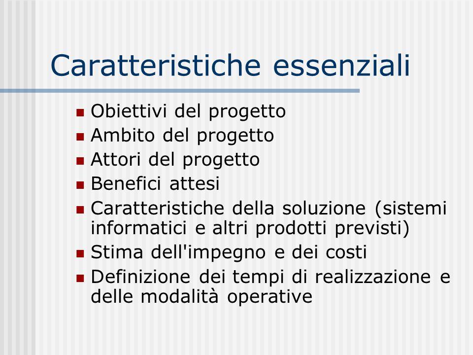 Caratteristiche essenziali Obiettivi del progetto Ambito del progetto Attori del progetto Benefici attesi Caratteristiche della soluzione (sistemi inf