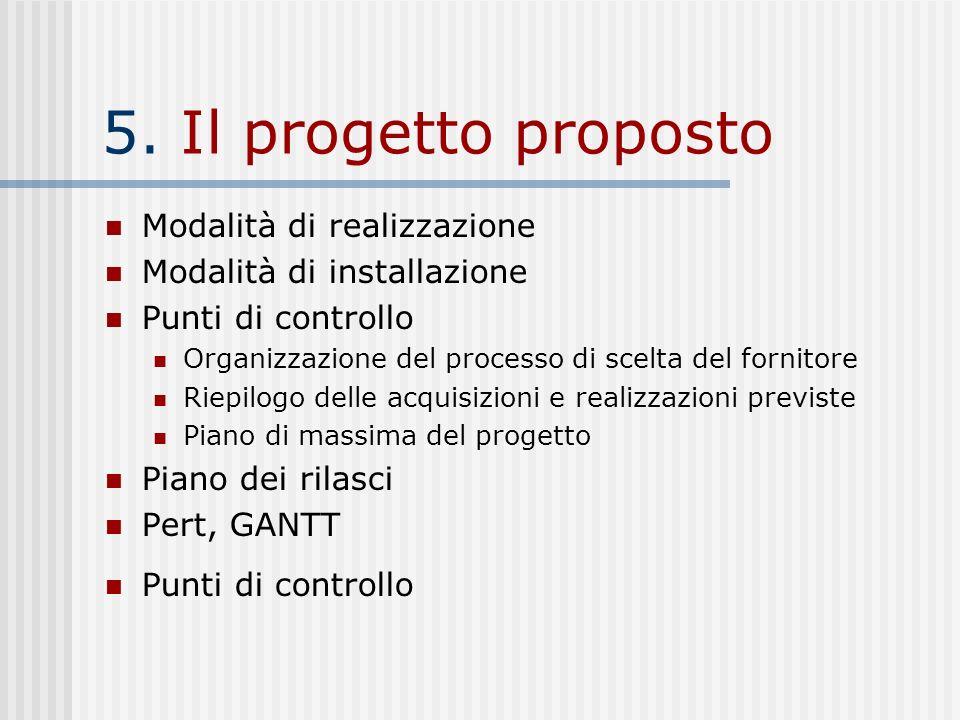 5. Il progetto proposto Modalità di realizzazione Modalità di installazione Punti di controllo Organizzazione del processo di scelta del fornitore Rie