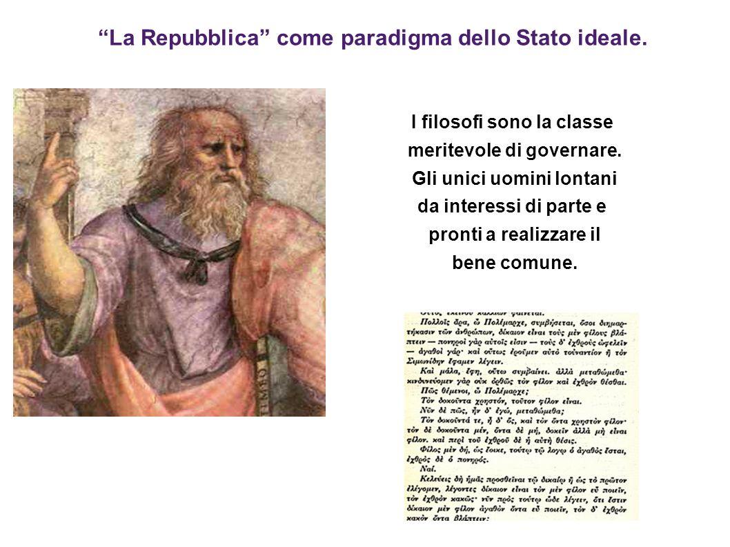 La Repubblica come paradigma dello Stato ideale. I filosofi sono la classe meritevole di governare. Gli unici uomini lontani da interessi di parte e p