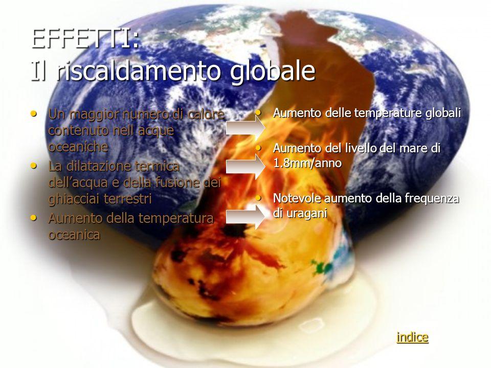 EFFETTI: Il riscaldamento globale Un maggior numero di calore contenuto nell acque oceaniche Un maggior numero di calore contenuto nell acque oceanich