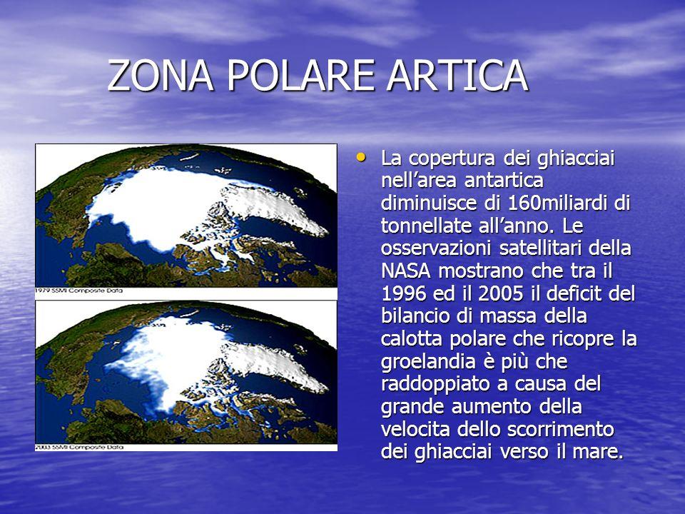 ZONA POLARE ARTICA ZONA POLARE ARTICA La copertura dei ghiacciai nellarea antartica diminuisce di 160miliardi di tonnellate allanno. Le osservazioni s