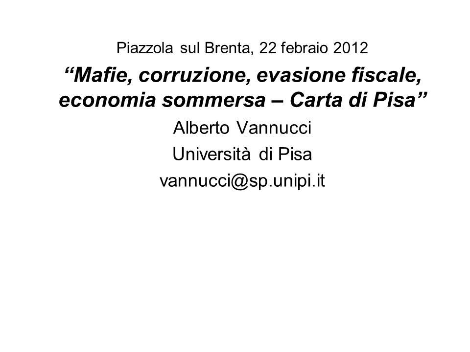 Piazzola sul Brenta, 22 febraio 2012 Mafie, corruzione, evasione fiscale, economia sommersa – Carta di Pisa Alberto Vannucci Università di Pisa vannuc