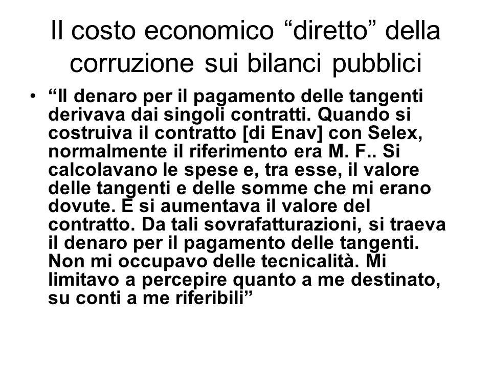 Il costo economico diretto della corruzione sui bilanci pubblici Il denaro per il pagamento delle tangenti derivava dai singoli contratti. Quando si c