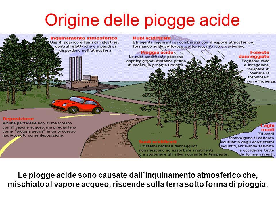 Origine delle piogge acide Le piogge acide sono causate dallinquinamento atmosferico che, mischiato al vapore acqueo, riscende sulla terra sotto forma