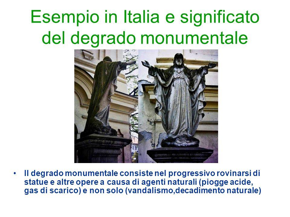 Esempio in Italia e significato del degrado monumentale Il degrado monumentale consiste nel progressivo rovinarsi di statue e altre opere a causa di a