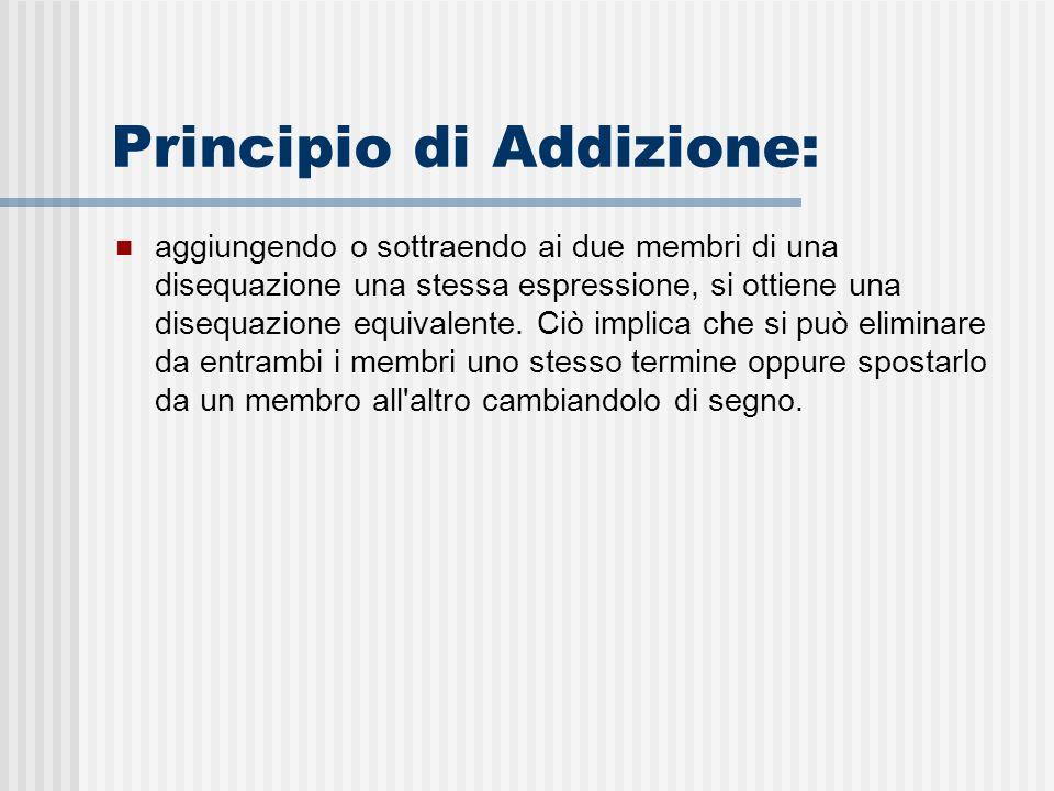 Principio di Addizione: aggiungendo o sottraendo ai due membri di una disequazione una stessa espressione, si ottiene una disequazione equivalente.