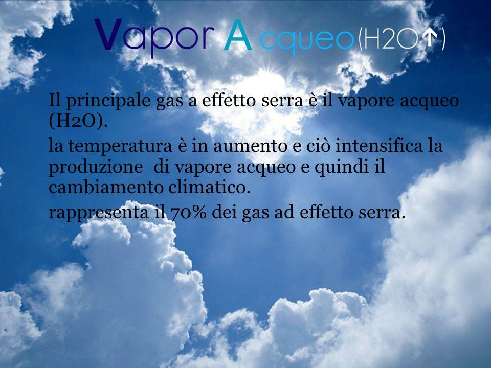 Il principale gas a effetto serra è il vapore acqueo (H2O). la temperatura è in aumento e ciò intensifica la produzione di vapore acqueo e quindi il c