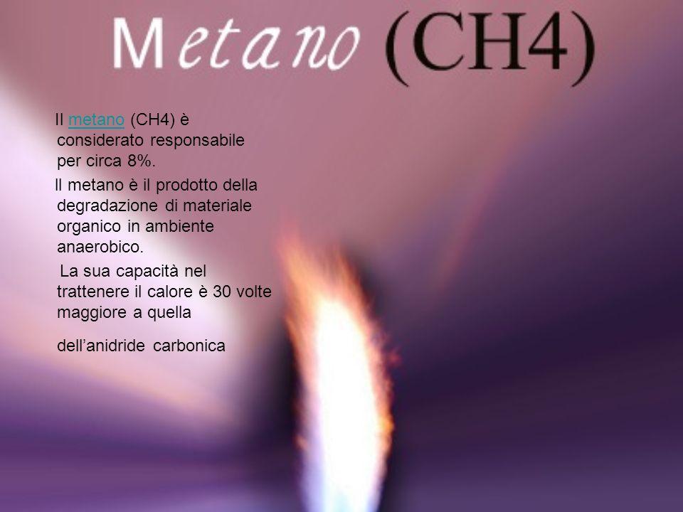 Il metano (CH4) è considerato responsabile per circa 8%.metano ll metano è il prodotto della degradazione di materiale organico in ambiente anaerobico