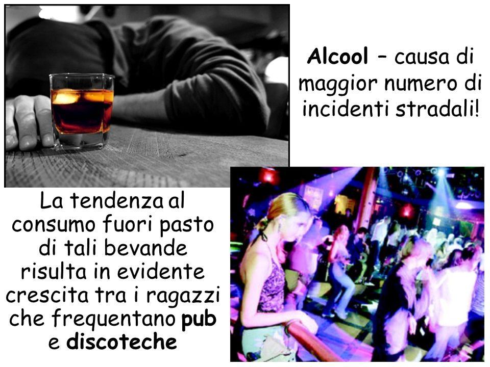 Alcool – causa di maggior numero di incidenti stradali! La tendenza al consumo fuori pasto di tali bevande risulta in evidente crescita tra i ragazzi