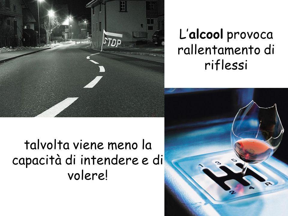 Lalcool provoca rallentamento di riflessi talvolta viene meno la capacità di intendere e di volere!