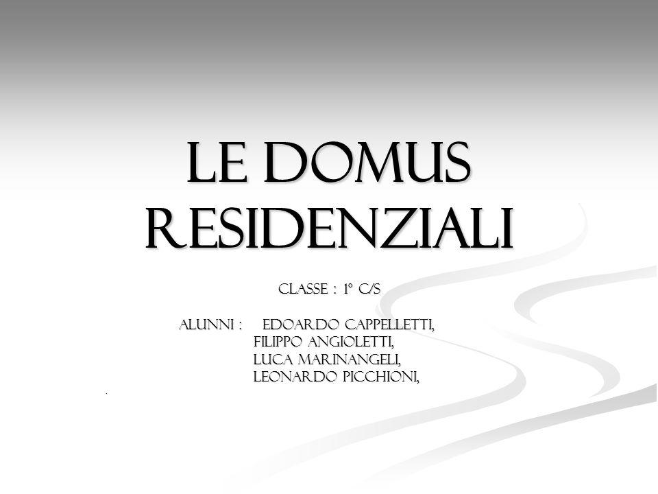 Le domus residenziali Classe : 1° c/s Alunni : Edoardo Cappelletti, Alunni : Edoardo Cappelletti, Filippo Angioletti, Filippo Angioletti, Luca Marinan