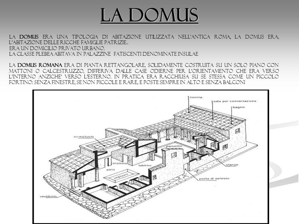 La domus la domus era una tipologia di abitazione utilizzata nell'antica Roma, la domus era, l'abitazione delle ricche famiglie patrizie.. era un domi