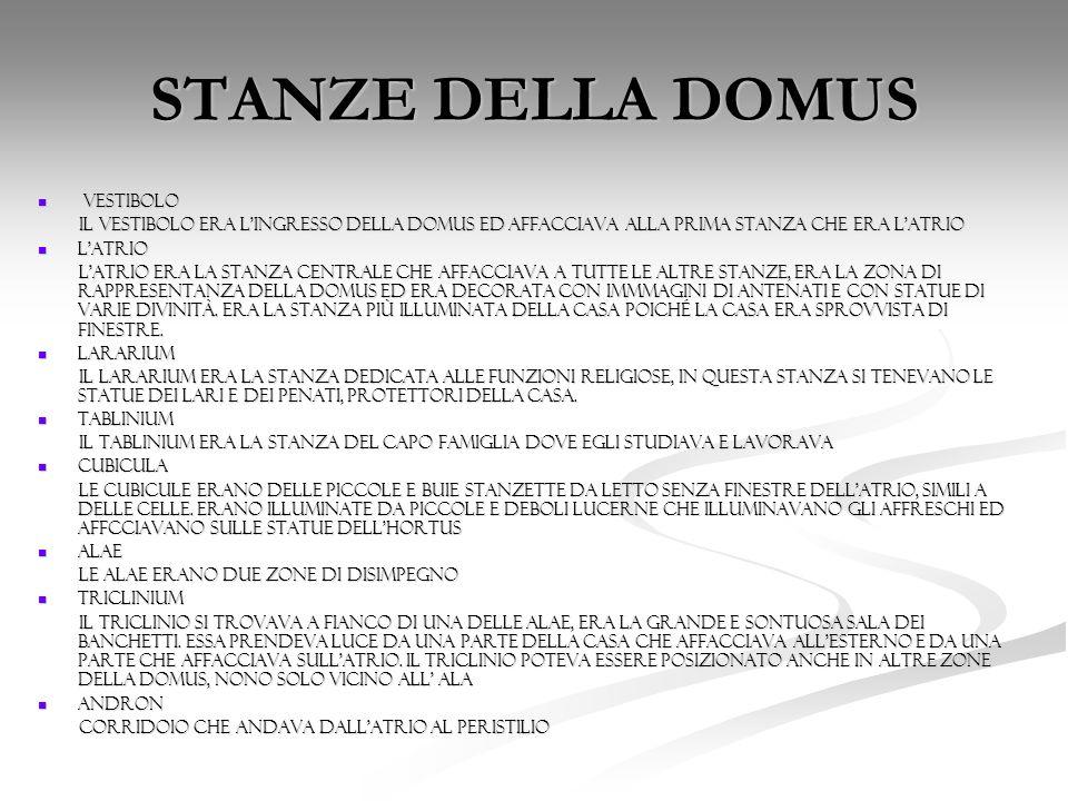 STANZE DELLE DOMUS PORTICUS PORTICUS ERA IL PORTICATO A COLONNE CHE CIRCONDAVA IL GIARDINO (HORTUS).