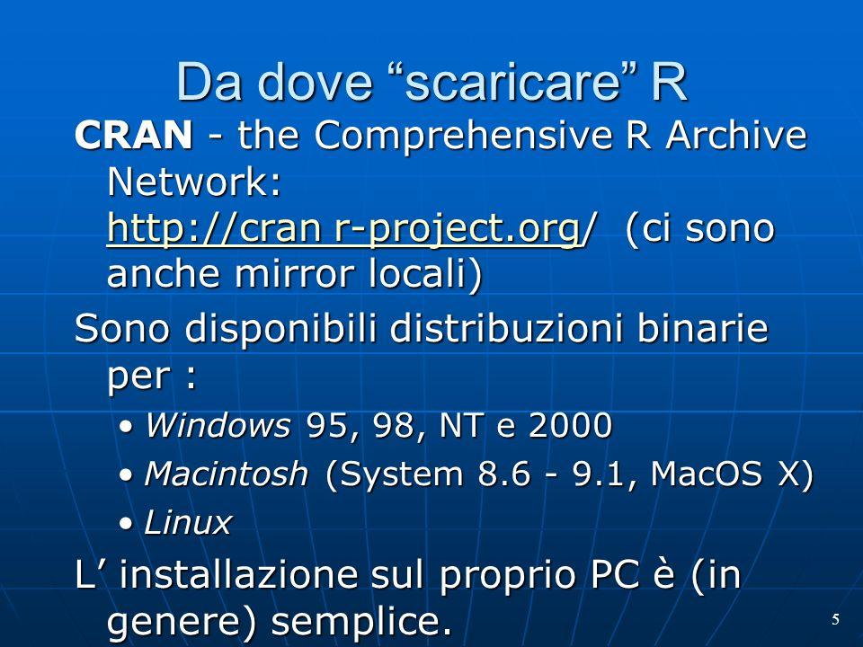 5 Da dove scaricare R CRAN - the Comprehensive R Archive Network: http://cran r-project.org/ (ci sono anche mirror locali) http://cran r-project.org h