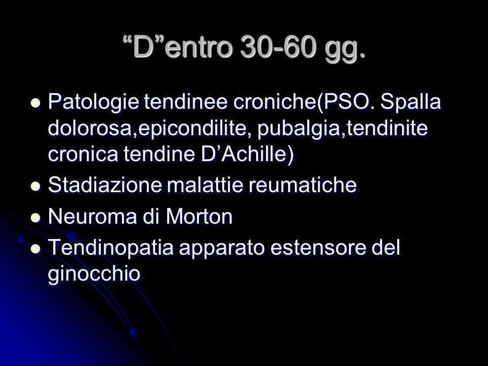 Dentro 30-60 gg. Patologie tendinee croniche(PSO. Spalla dolorosa,epicondilite, pubalgia,tendinite cronica tendine DAchille) Patologie tendinee cronic