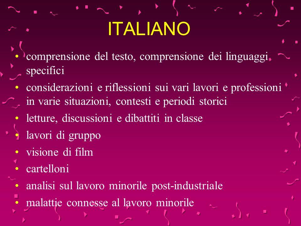 ITALIANO comprensione del testo, comprensione dei linguaggi specifici considerazioni e riflessioni sui vari lavori e professioni in varie situazioni,