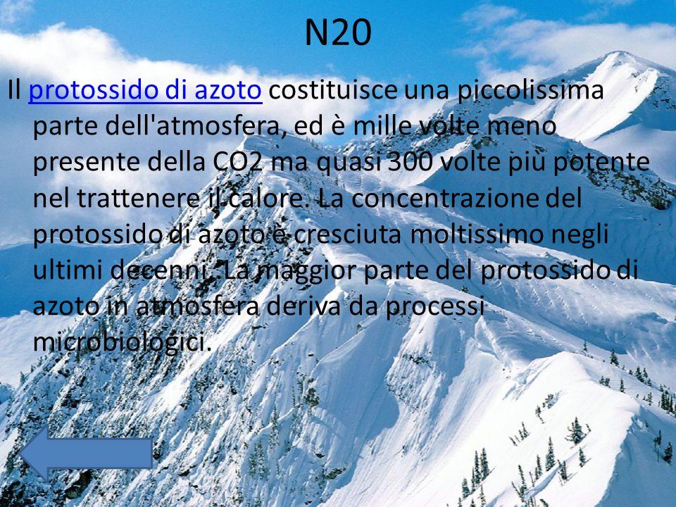 N20 Il protossido di azoto costituisce una piccolissima parte dell atmosfera, ed è mille volte meno presente della CO2 ma quasi 300 volte più potente nel trattenere il calore.