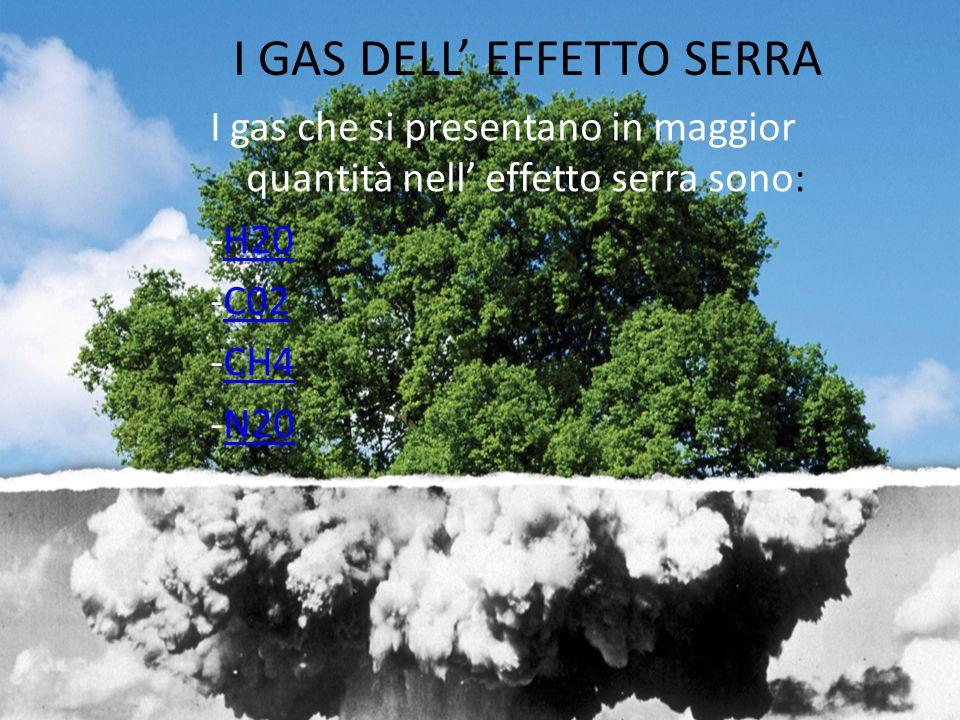 I GAS DELL EFFETTO SERRA I gas che si presentano in maggior quantità nell effetto serra sono: -H20H20 -C02C02 -CH4CH4 -N20N20