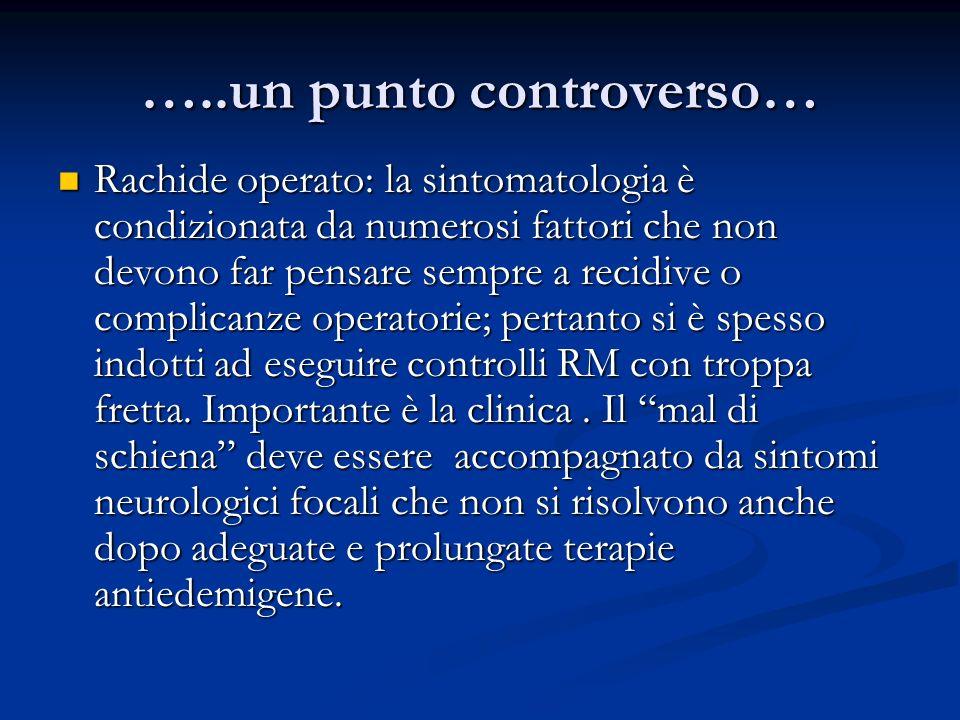 …..un punto controverso… Rachide operato: la sintomatologia è condizionata da numerosi fattori che non devono far pensare sempre a recidive o complica