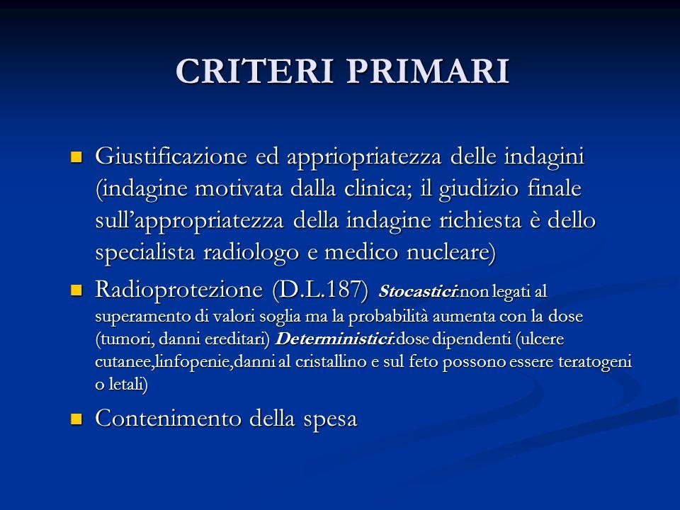 CRITERI PRIMARI CRITERI PRIMARI Giustificazione ed appriopriatezza delle indagini (indagine motivata dalla clinica; il giudizio finale sullappropriate